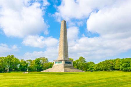 Monumento de Wellington en el parque Phoenix en Dublín, Irlanda Foto de archivo