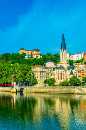 Church of Saint George next to Saone river in Lyon, France