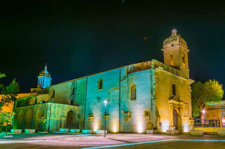 Night view of the Chiesa di san Vincenzo Ferreri in Ragusa, Sicily, Italy