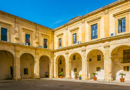 Courtyard of the town hall of Modica, Sicily, Italy