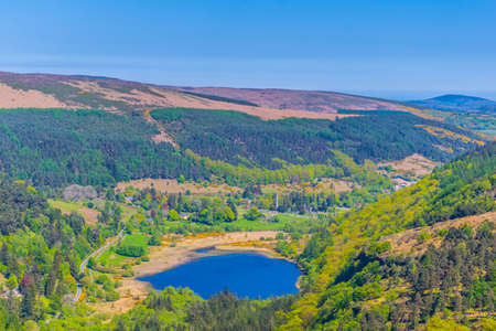 Aerial view of the upper and lower lake in Glendalough, Ireland
