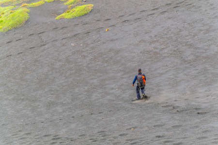 a group of tourist is descending from mount etna in sicily, Italy Imagens