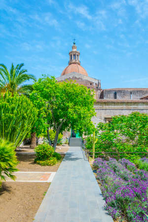 View of an inner garden of the University of Catania residing in the former monastery of benedettini di san Nicolo, Sicily, Italy