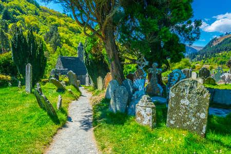 An Ancient cemetery in Glendalough settlement, Ireland