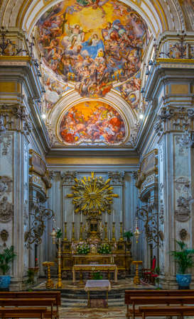CATANIA, ITALY, APRIL 27, 2017: Interior of the Chiesa di San Benedetto in Catania, Sicily, Italy 에디토리얼