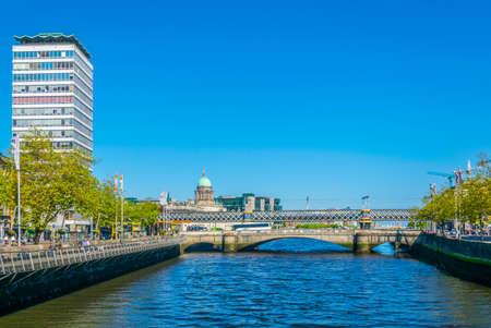 Riverside of Liffey in Dublin, Ireland 写真素材