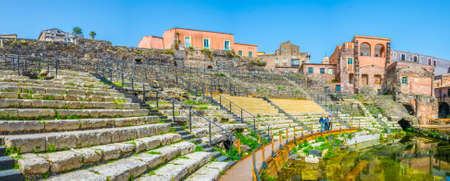 View of the ancient roman theatre in Catania, Sicily, Italy
