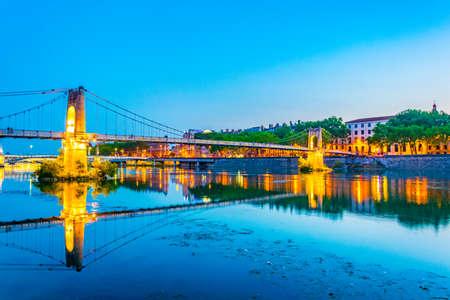 Night view of the passerelle du Colege bridge in Lyon, France