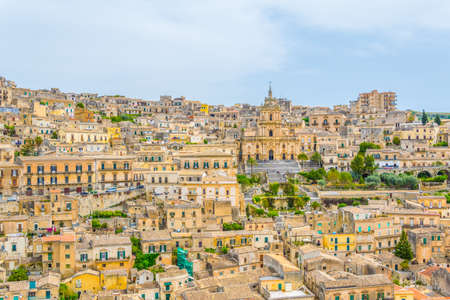 Aerial view of modica overlooking cathedral of saint george, Sicily, Italy