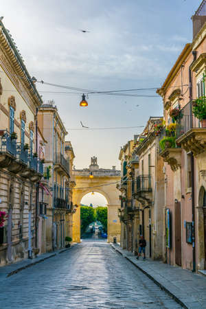 View of the Porta Reale o Ferdinandea in Noto, Sicily, Italy