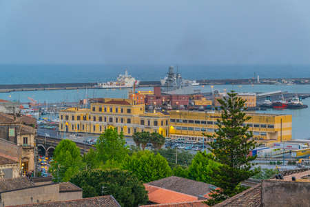 Aerial view of Port of Catania, Sicily, Italy