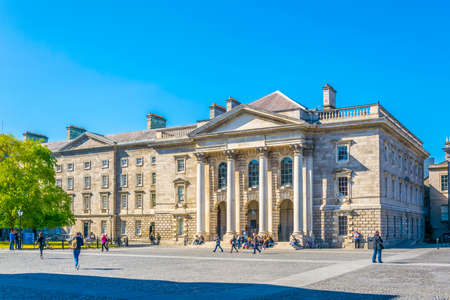 View of a building on the parliament square inside of the trinity college campus in Dublin, Ireland Reklamní fotografie - 131722901