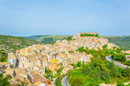 Aerial view of old town of the sicilian city Ragusa Ibla, Italy 版權商用圖片