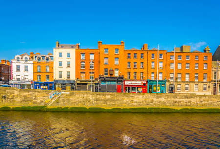 DUBLIN, IRELAND, MAY 9, 2017: Riverside of Liffey in Dublin, Ireland