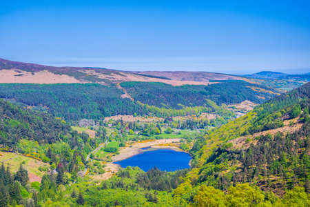 Aerial view of the upper and lower lake in Glendalough, Ireland Standard-Bild