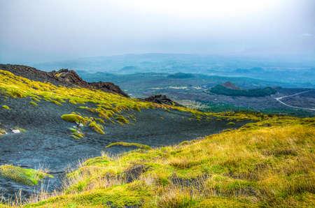 La végétation sauvage en plein essor sur la pente du mont Etna en Sicile, Italie