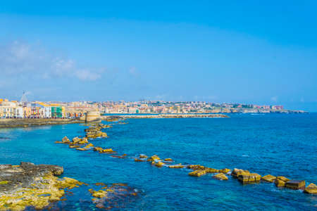 View of the seaside promenade surrounding the modern town of Syracuse in Sicily, Italy Reklamní fotografie