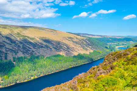 Aerial view of the upper lake in Glendalough, Ireland
