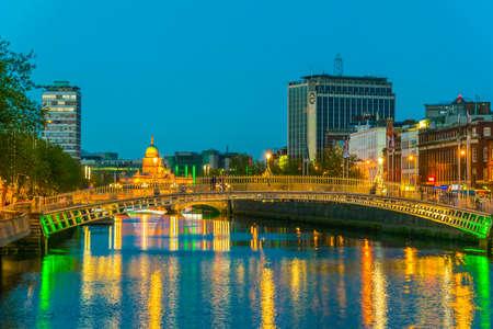 Sunset view of the Millenium bridge in Dublin, Ireland