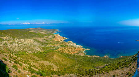 Aerial view of Blue lagoon and other bays at Akamas peninsula on Cyprus