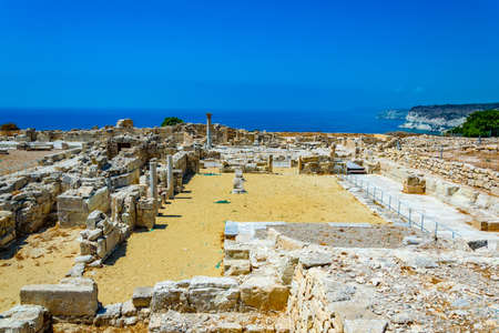 Ruins of an early christian basilica situated at ancient kourion site on Cyprus Stock Photo