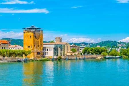 Riverside of Rhone river in Vienne, France Фото со стока