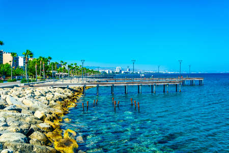 A pier leading to the mediterranean sea in Limassol, Cyprus