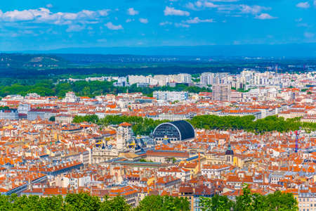 Aerial view of Lyon dominated by the National opera and town hall, France