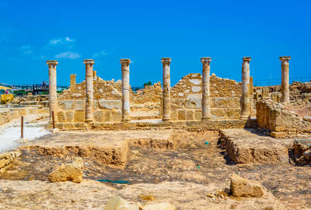 Ruins of Theseus house at Paphos Archaeological Park on Cyprus