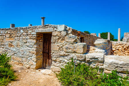 Ruins at compound of the temple of Apollo Hylates on Cyprus Stock Photo