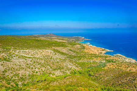 Aerial view of lagoon and other bays at Akamas peninsula on Cyprus
