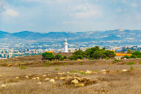 White lighthouse in Paphos, Cyprus