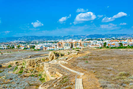 Cityscape of Paphos viewed from Paphos Archaeological Park on Cyprus Banque d'images