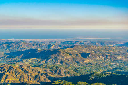 View towards limassol from troodos mountain on Cyprus