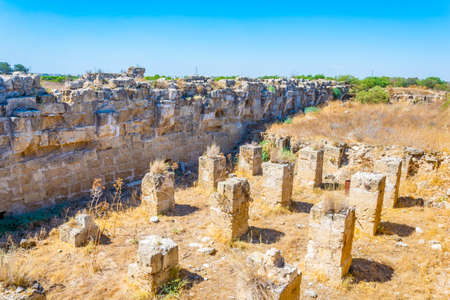 Ruins of ancient Salamis archaeological site near Famagusta, Cyprus Imagens