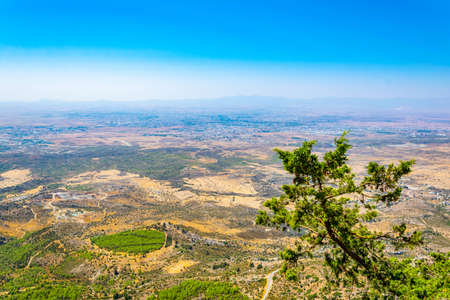 Aerial view of Nicosia/Lefkosa from Buffavento castle in Cyprus Stock Photo