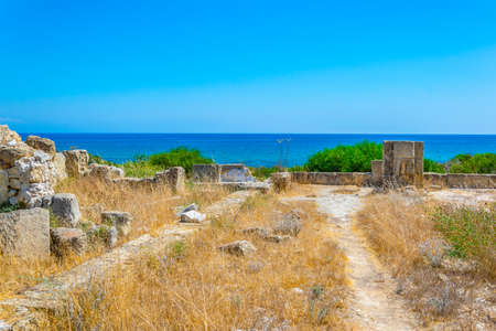 Ruins of ancient Salamis archaeological site near Famagusta, Cyprus 免版税图像