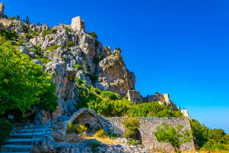 Ruins of St. Hilarion castle in the northern Cyprus Stock Photo