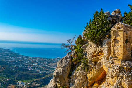 Ruins of St. Hilarion castle in the northern Cyprus Stok Fotoğraf