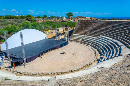 Ruins of Amphitheatre at ancient Salamis archaeological site near Famagusta, Cyprus Stock Photo