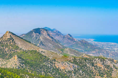 Saint Hilarion castle overlooking northern coast of cyprus