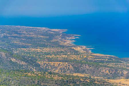 Aerial view of seaside of Karpaz peninsula on Cyprus
