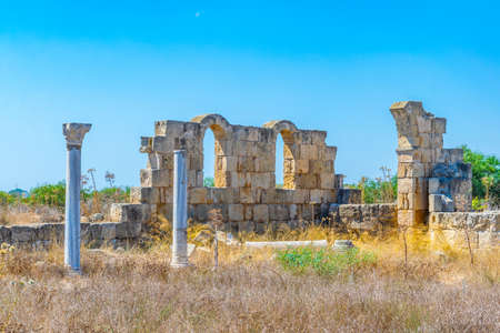 Ruins of Kampanopetra basilica at ancient Salamis archaeological site near Famagusta, Cyprus