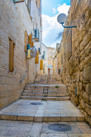 Narrow street of Armenian district of Jerusalem, Israel