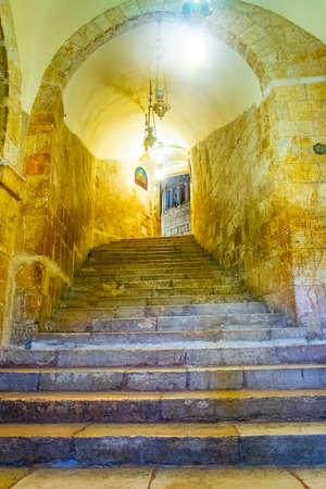 JERUSALEM, ISRAEL, SEPTEMBER 8, 2018: Interior of church of holy sepulchre in Jerusalem, Israel