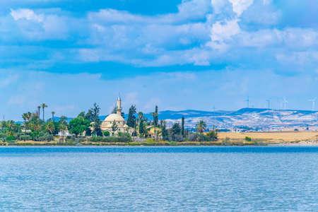 Hala Sultan Tekessi mosque viewed behind a salt lake, Cyprus
