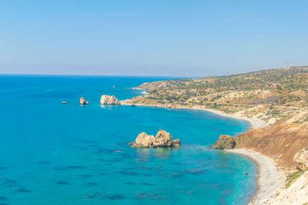 Petra tou Romiou alas Aphordite's rock on Cyprus Stok Fotoğraf