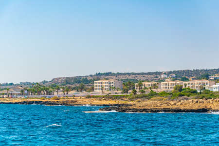 Buildings scattered on seacoast of Cape Greco on Cyprus