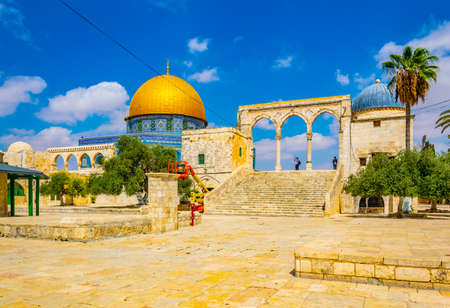 Famous dome of the rock situated on the temple mound in Jerusalem, Israel 免版税图像 - 156468993