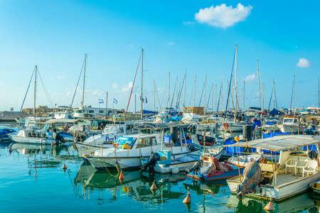 Barcos amarrados en el puerto de Jaffa, Tel Aviv, Israel Editorial